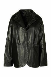 Womens Faux Leather Oversized Jacket - Black - 14, Black