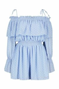 Womens Dobby Mesh Off The Shoulder Playsuit - Blue - 16, Blue