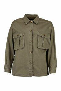 Womens Oversized Utility Pocket Denim Jacket - Green - 16, Green