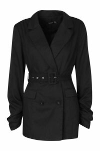 Womens Ruched Detail Sleeve Belted Blazer - Black - 12, Black