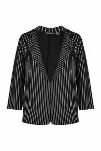 Womens Metallic Pinstripe Oversized Blazer - Black - 14, Black