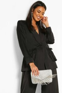 Womens Woven Ruched Pocket Blazer - Black - 14, Black