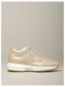 Hogan Sneakers Interactive Hogan Sneakers In Pearl Leather With Perforated H