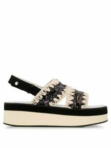 Mou two-tone sequin-embroidered sandals - Black
