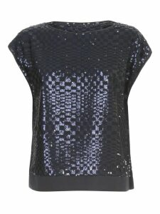 Emporio Armani Top Down Sleeve Bottom Satin W/paillettes