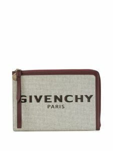 Givenchy logo print zipped clutch - NEUTRALS