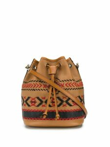 Etro embroidered style drawstring bucket bag - Brown
