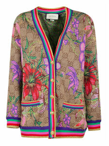 Gucci Double G Motif Flower Print Cardigan