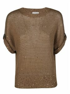Brunello Cucinelli Brown Linen And Silk T-shirt