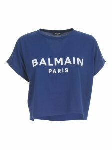 Balmain Ss 3 Btn Flock Logo Tshirt