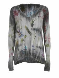 Avant Toi Flower Print W/brushes V Neck Pullover