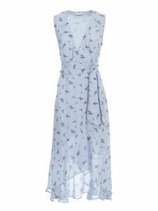 Ganni Printed Georgette Dress W/s V Neck W/belt
