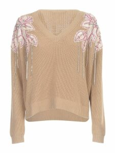 TwinSet Cotton Sweater L/s V Neck W/paillettes On Shoulders