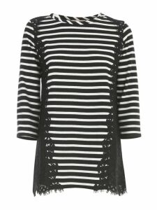 TwinSet Striped Sweater 3/4s W/lace