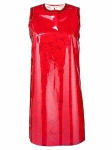 Nº21 vinyl overlay lace dress - Red