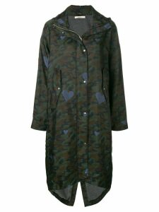 Odeeh camouflage print parka coat - Green