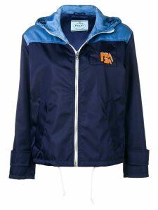 Prada logo patch hooded jacket - Blue