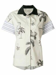 Odeeh palm print board shirt - NEUTRALS