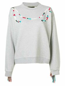 Alanui fringed sleeve sweater - Grey
