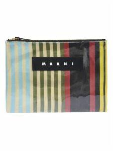 Marni Striped Logo Clutch
