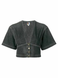 Jean Atelier kimono cropped denim blouse - Grey