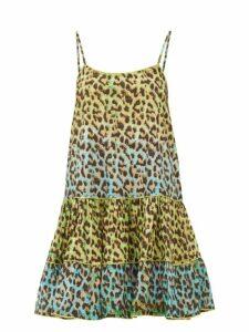 Juliet Dunn - Leopard-print Ruffled-hem Cotton Dress - Womens - Green Print