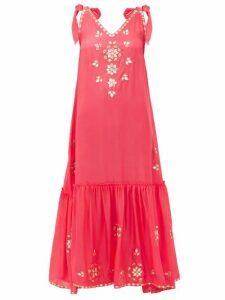 Juliet Dunn - Mirror-embellished Silk Dress - Womens - Pink