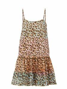 Juliet Dunn - Leopard-print Ruffled-hem Cotton Dress - Womens - Pink Print