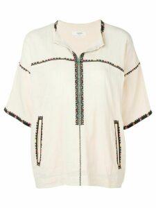 Isabel Marant Étoile Rikki embroidered trim top - NEUTRALS