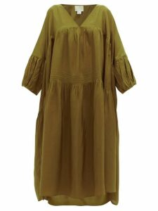 Anaak - Airi Pintucked Silk-habotai Dress - Womens - Olive Green