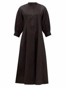 Three Graces London - Bianca Balloon-sleeve Cotton Shirtdress - Womens - Black