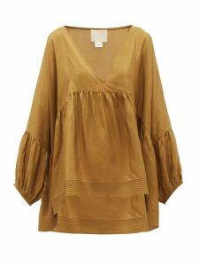 Anaak - Airi Pintucked Silk-habotai Blouse - Womens - Olive Green