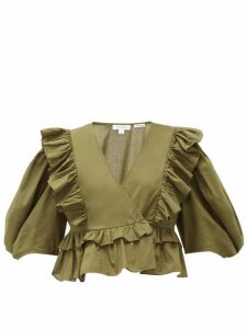 Rhode - Elodie Ruffle-trimmed Cotton-voile Blouse - Womens - Dark Green
