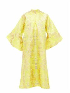 La Vie Style House - No. 303 Floral-embroidered Organza Kaftan Dress - Womens - Yellow