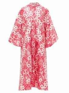 La Vie Style House - No.350 Floral-jacquard Kaftan Dress - Womens - Pink Multi