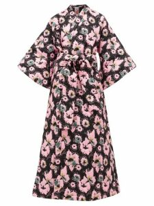 La Vie Style House - No.12 Quilted Floral-jacquard Kimono Dress - Womens - Black Pink