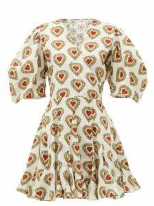 Rhode - Rosie Heart-print Puff-sleeve Cotton Dress - Womens - White Print