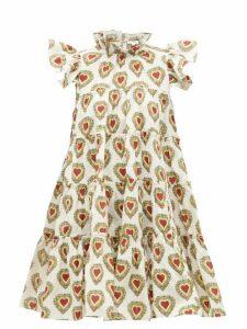Rhode - Tiffany Ruffled Heart-print Dress - Womens - White Print