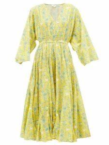 Rhode - Emily Swallow & Floral-print Cotton Midi Dress - Womens - Yellow Print