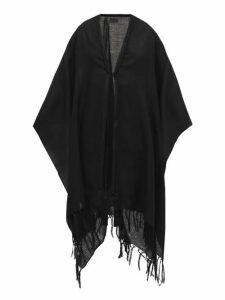 Saint Laurent - Roped-neckline Tasselled-wool Shawl - Womens - Black