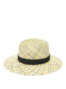 Maison Michel - Virginie Checked Straw Fedora Hat - Womens - Black Beige
