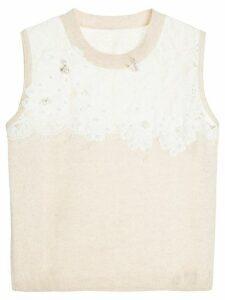 Onefifteen floral lace patch sweater vest - Brown