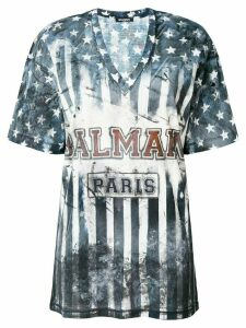 Balmain U.S.A. print T-shirt - Blue