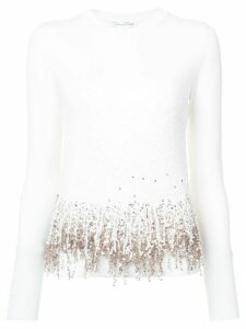 Oscar de la Renta embroidered fringed sweater - White