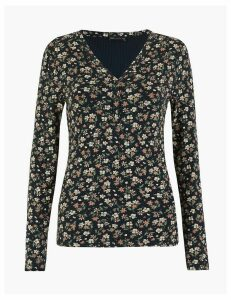 M&S Collection Floral Print Slim Fit Henley Top