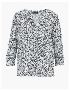 M&S Collection Pure Cotton Floral Long Sleeve Popover Top