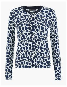 M&S Collection Printed Round Neck Cardigan