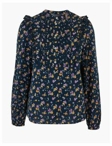 M&S Collection Cotton Floral Broderie High Neck Blouse