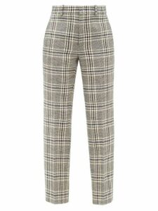 Gucci - Checked Wool-blend Straight-leg Trousers - Womens - Blue White