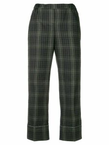 Nº21 checked print cropped trousers - Green